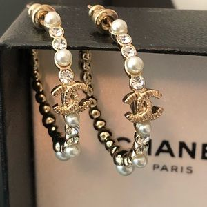 ✨CHANEL✨Gold & Crystal Hoops (NEW!!)